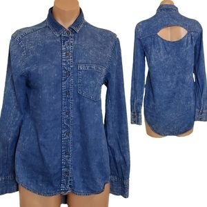 Acid Wash Denim Chambray Open Back Button Down